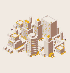 outline mode isometric city with skyscrapers vector image