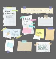 Paper notes memo messages board on stickers vector