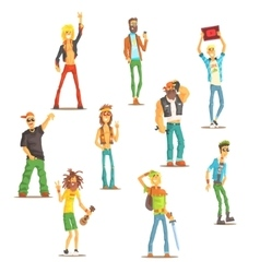 People belonging to different subculture set of vector
