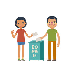 People make donations donate charity concept vector
