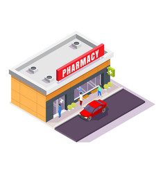 Pharmacy store facade with signboard isometric vector