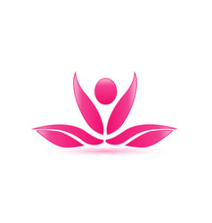 pink lotus plant spa icon vector image