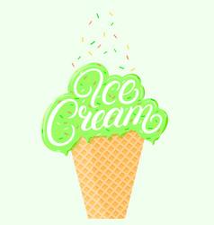 Pistachio ice cream vector