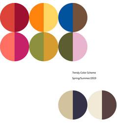 Poster trendy color scheme by plain color rounds vector