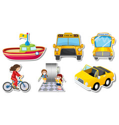 random stickers with transportable vehicle objects vector image