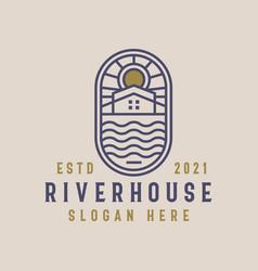 River house lineart logo template vector