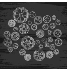 Scribbled cogwheels and gears vector