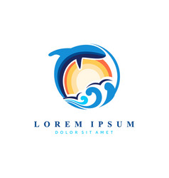 sea ocean logo design modern colorful vector image