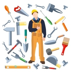 Set isolated objects worker saw trowel hammer vector image