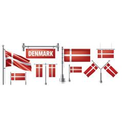 Set national flag denmark vector