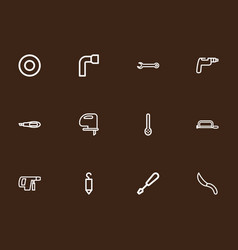 set of 12 editable tools outline icons includes vector image