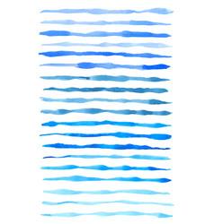 Set of blue watercolor lines vector