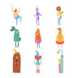 Set of people in funny costumes man characters vector