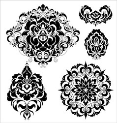 Set ornate ornaments vector