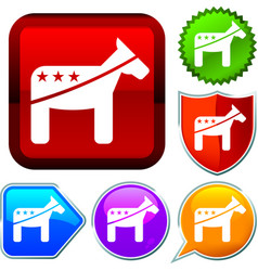 Set shiny icon series on buttons democratic vector