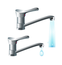 shiny metal taps with strong water flow and big vector image