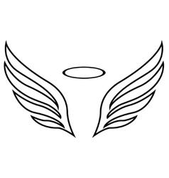 Sketch angel wings vector