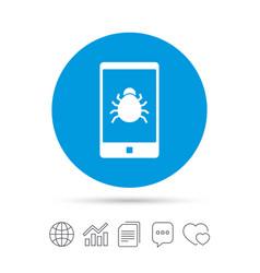 Smartphone virus sign icon software bug symbol vector