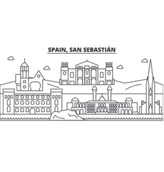 Spain san sebastian architecture line skyline vector
