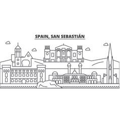 Spain san sebastian architecture line skyline vector