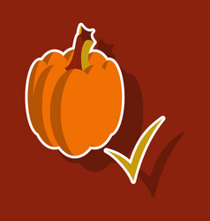 Sticker pumpkin autumn halloween or thanksgiving vector