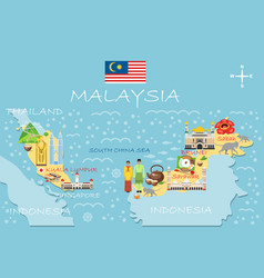 Stylized map malaysia travel with malaysian vector