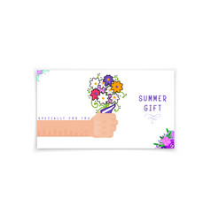 summer banner - gift card hand holding a bouquet vector image