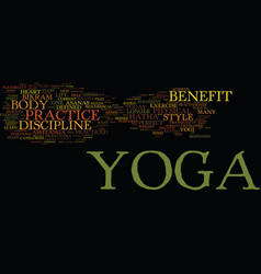 The benefit of yoga text background word cloud vector