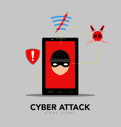 Thief icon on a cellphone device cyber attack vector