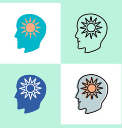 think positive concept icon set in flat and line vector image