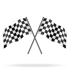 Twin chequered checkered racing flags flying vector