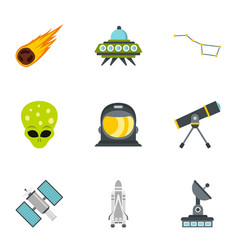 Ufo and space icons set flat style vector