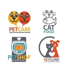 Vet shops veterinary clinics and homeless animals vector