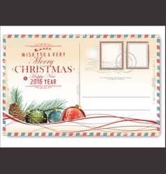 vintage christmas postcard 4 vector image
