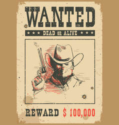 wanted poster western with bandit vector image