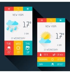 Weather widget in flat design style vector image vector image