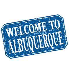 Welcome to albuquerque blue square grunge stamp vector