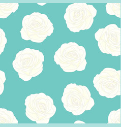 White rose - rosa on blue mint background vector