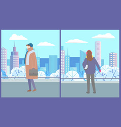 winter landscape in urban park woman and man vector image