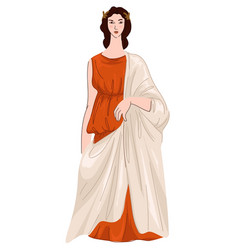 Woman wearing roman dress or robe ancient look vector