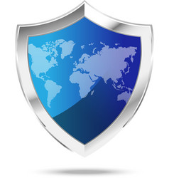 World map protection metal shield on the white vector image