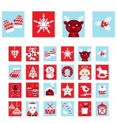 advent calendar retro christmas icons vector image