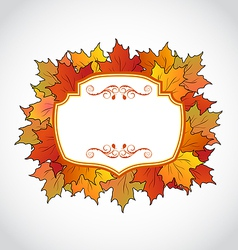 Autumnal floral card with colorful maple leaves vector image