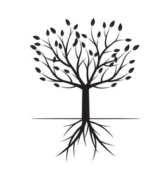 black tree with leafs vector image
