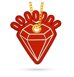 Diamond Label tag hanging on golden chain vector image vector image