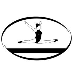 Gymnastics on the balance beam vector image vector image