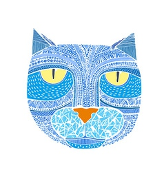 Hand drawn graphic of a cat Unique art for vector image vector image