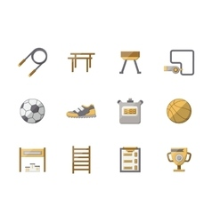 Flat style physical education color icons vector