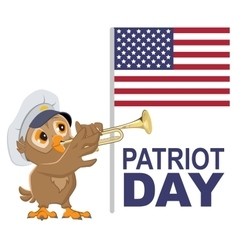 Patriot Day USA Owl bugler in white cap plays vector image vector image