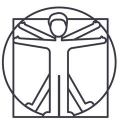 Vitruvian man line icon sign vector